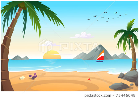 Cartoon background picture by the sea. 73446049