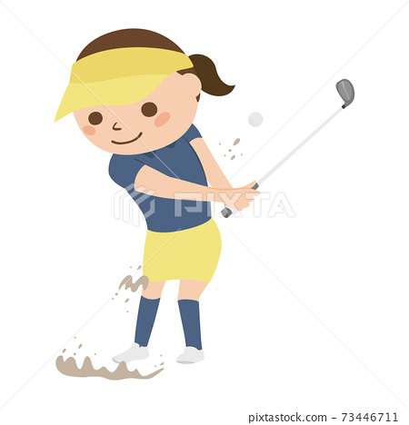 Illustration of a woman playing golf. A woman flying a golf ball from a bunker. 73446711