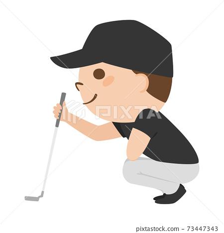 打高爾夫球的一個人的例證。讀線的一個人對在綠色的杯子。 73447343