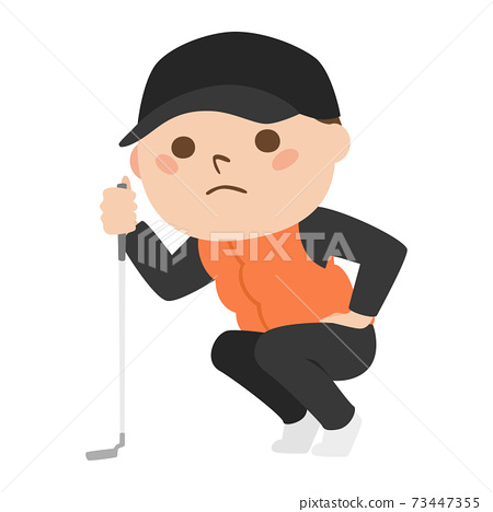 打高爾夫球的一個人的例證。讀線的一個人對在綠色的杯子。 73447355
