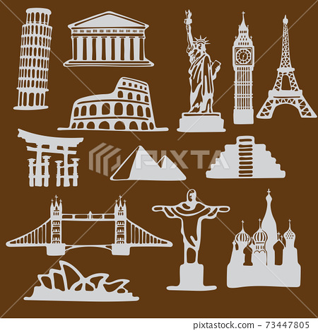 Icon set of famous landmarks in the style of paper cut with curved shape isolated on brown background 73447805