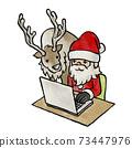 재택 근무의 산타 클로스와 순록 73447976