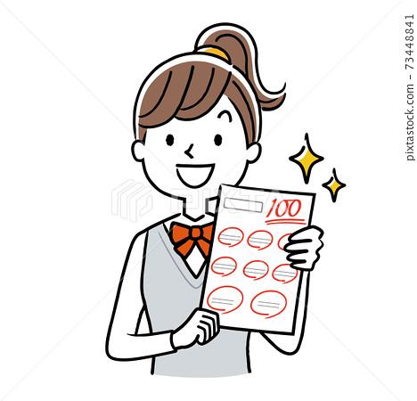 벡터 일러스트 소재 : 테스트에서 100 점을 취하는 여학생 73448841