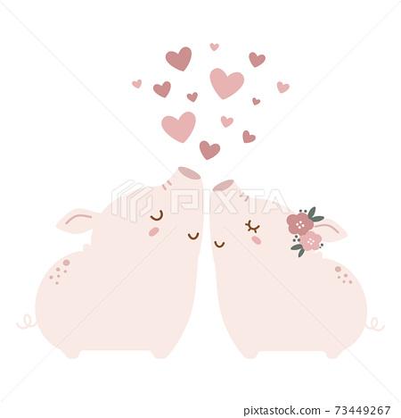 可愛的豬情侶 73449267