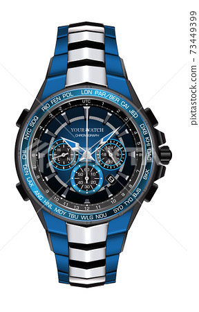 Realistic watch clock chronograph blue silver black steel design fashion for men luxury elegance on white background vector illustration. 73449399