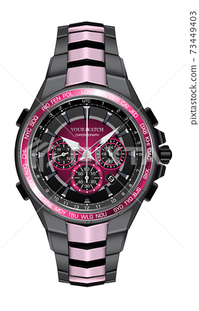 Realistic watch clock chronograph pink black steel design fashion for men luxury elegance on white background vector illustration. 73449403