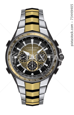 Realistic watch clock chronograph silver gold black steel design fashion for men luxury elegance on white background vector illustration. 73449405
