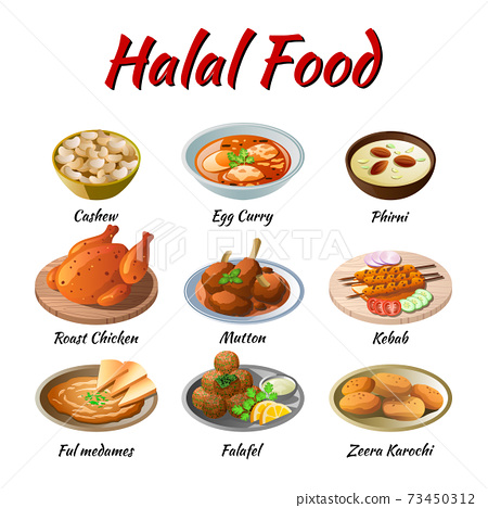 Set of delicious and famous food of Halal in colorful gradient flat design icon 73450312