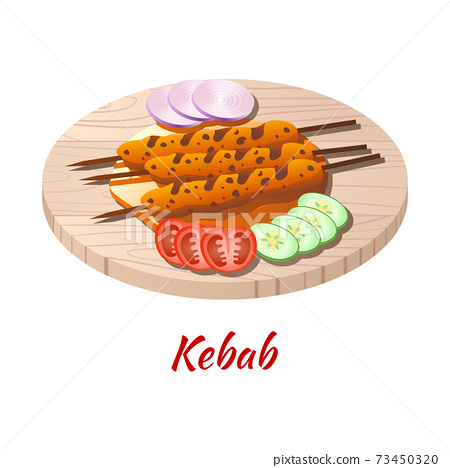 Kebab is delicious and famous food of Halal in colored gradient design icon 73450320