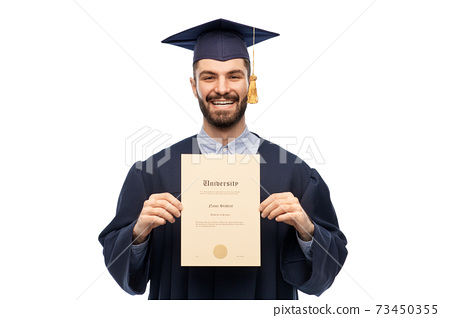 male graduate student in mortar board with diploma 73450355