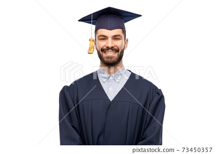 graduate student in mortar board and bachelor gown 73450357