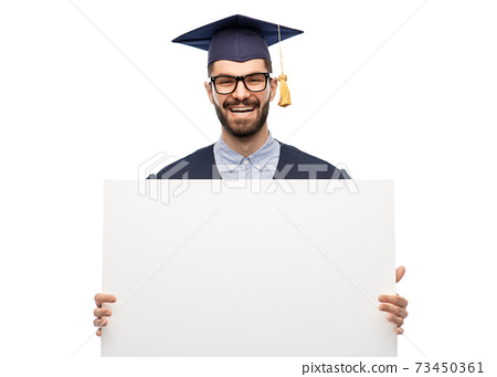 graduate student or bachelor with white board 73450361