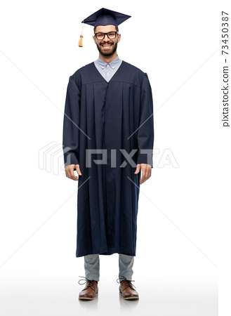 graduate student in mortar board and bachelor gown 73450387