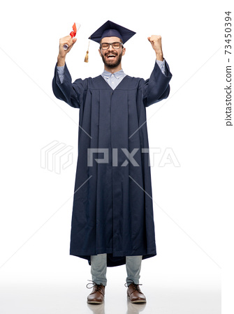male graduate student in mortar board with diploma 73450394