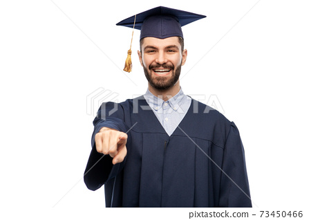 happy smiling graduate student pointing to you 73450466