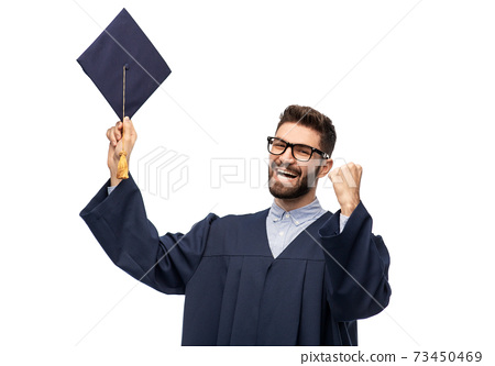 happy graduate student with mortar board 73450469