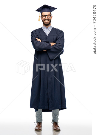 graduate student in mortar board and bachelor gown 73450479