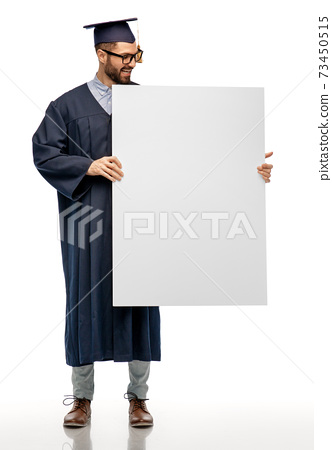 graduate student or bachelor with white board 73450515