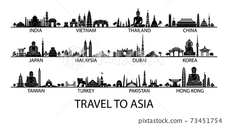 famous landmark of country in Asia silhouette style with black and white classic color design include by country name 73451754