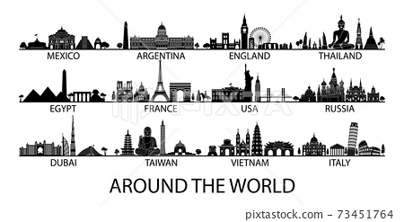 famous landmark of country in Asia Europe and America silhouette style with black and white classic color design include by country name 73451764