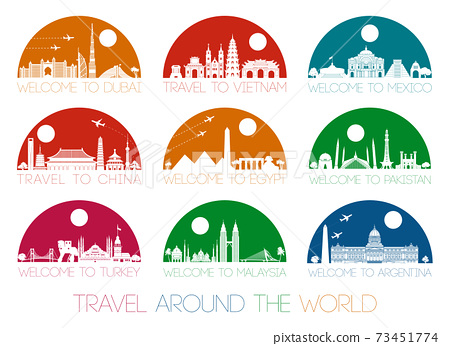 World famous landmark silhouette style inside by multil and bright half circle shape 73451774