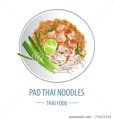 Pad Thai famous Thai food,realistic with top view style 73452358
