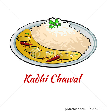 Set of delicious and famous food of Indian in colorful gradient design icon 73452388