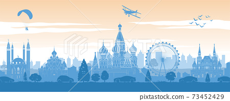 Russia famous landmark in back of car and street in scenery style silhouette design in blue and orange yellow color 73452429