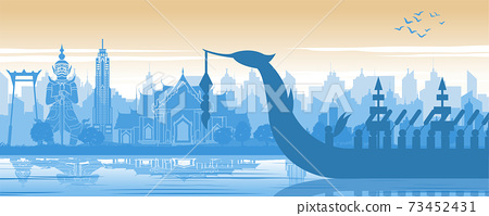 Thailand famous landmark in scenery design and royal Thai boat silhouette design in blue and orange yellow color 73452431