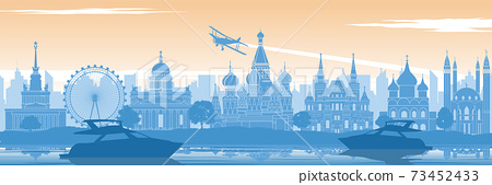 Russia famous landmark in back of river and yacht in scenery style silhouette design in blue and orange yellow color 73452433