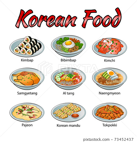 Set of delicious and famous food of Korean in colorful gradient design icon 73452437