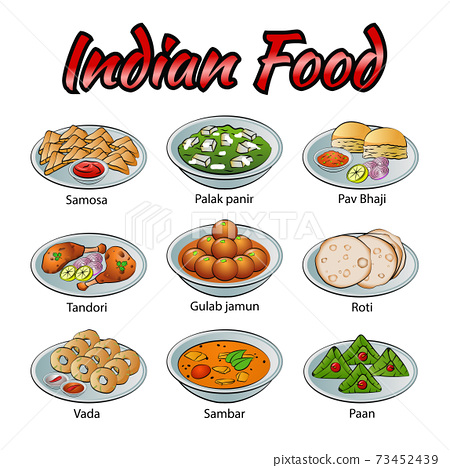 Set of delicious and famous food of Indian in colorful gradient design icon 73452439