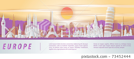 Europe famous landmark paper cut style with purple orange and white color design 73452444