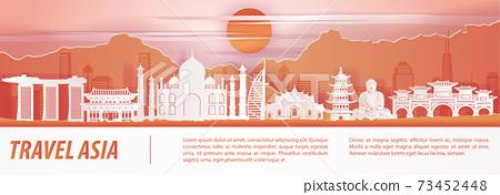 Asia famous landmark paper art with orange red color design 73452448