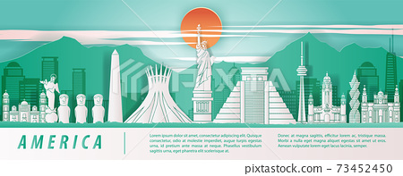 america famous landmark paper art style with green and white color 73452450