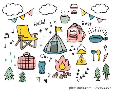 캠프의 삽화 일러스트 바구니 73453357