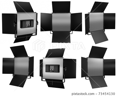 Photography studio led flash light on a stand isolated on white with curtain. 73454130