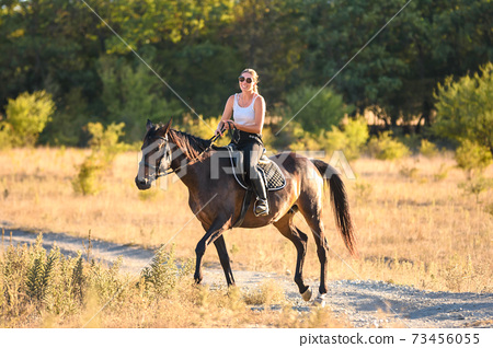 Happy girl walking on a horse in the forest on a warm autumn day 73456055