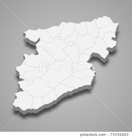 3d isometric map of Viseu is a district of Portugal 73456883