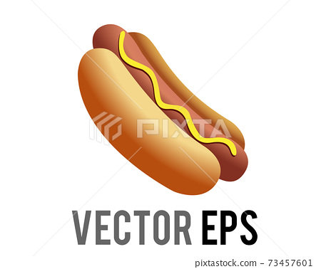 Vector fast food cooked sausage of hot dog in sliced bun with yellow mustard icon 73457601