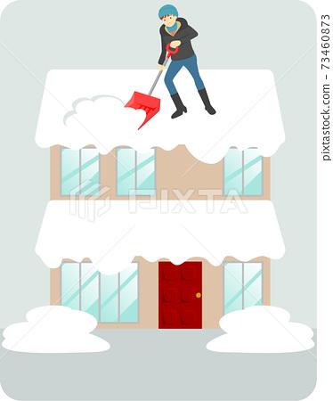 지붕 雪おろし을하고있는 남성의 일러스트 73460873