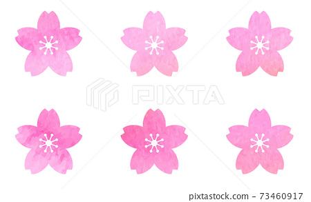 벚꽃 아이콘 세트 수채화 텍스처로 벡터 소재 73460917