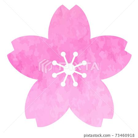 벚꽃 아이콘 수채화 텍스처로 벡터 소재 73460918