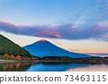 (Shizuoka Prefecture) Mt. Fuji evening view from Lake Tanuki 73463115