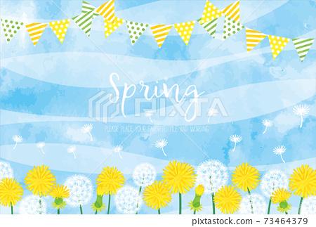 水彩風格的蒲公英和花環春天背景素材 73464379