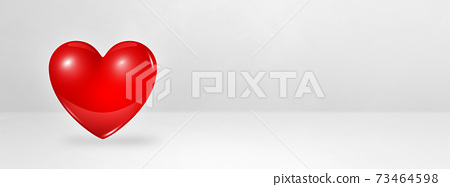 3D red heart on a white studio banner 73464598