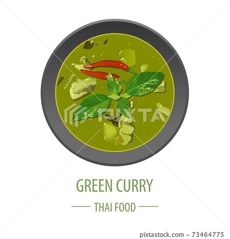 Green Curry famous Thai food,realistic with top view style,vector illustration 73464775