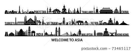 collection of famous landmarks of Asia silhouette style with black and white color 73465117