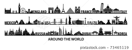 world famous landmarks silhouette style with black and white color design 73465119