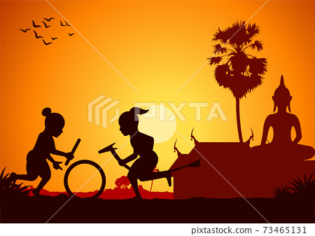 boy fishing at riverbank to catch fish,around with country rural life,silhouette style 73465131
